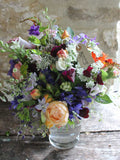 Our English country flowers bridesmaid's bouquet – the finishing touch for your bridesmaids. One of our beautiful, natural, eco friendly flower bouquets, arranged using British grown, sustainable flowers.