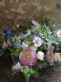 Five beautiful jam jar posies full of eco friendly flowers from this Somerset florist, perfect for decorating your wedding venue. Full of English country flowers cut fresh from the flower patch at Common Farm Flowers.