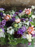 A stunning wedding table centre flower arrangement, created from seasonal English country flowers, cut fresh from our flower farm in Somerset.