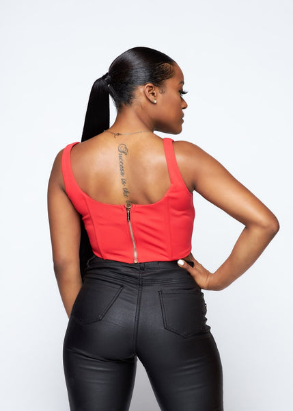 Red Velvet Corset Top - The Signature Fit
