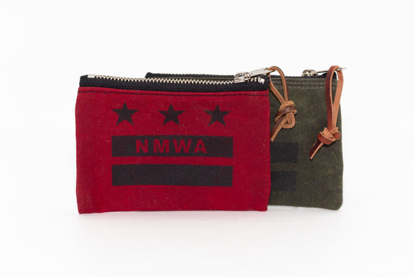 NMWA Branded Waxed Canvas Zip Pouch