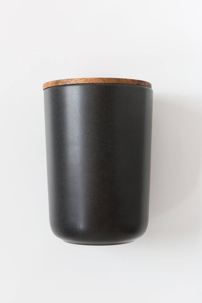Large Stoneware Black Ceramic Container
