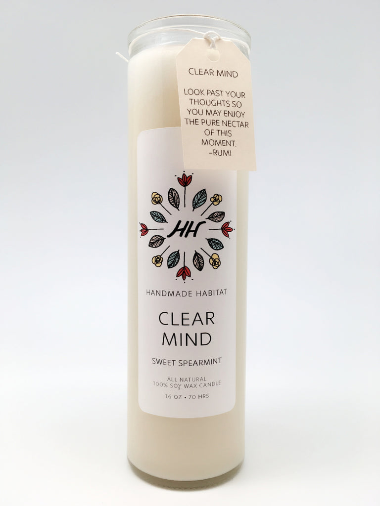 Clear Mind Soy Wax Candle (Sweet Spearmint)