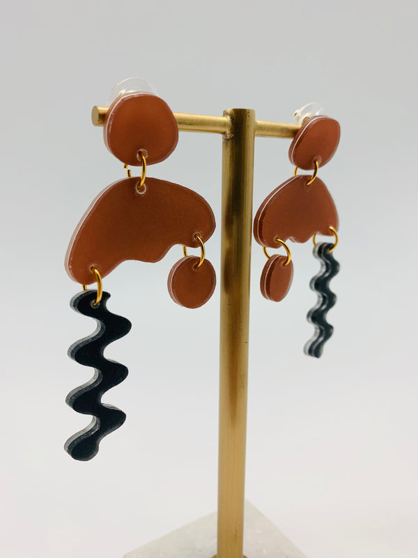 Nude ink squiggle storm earrings