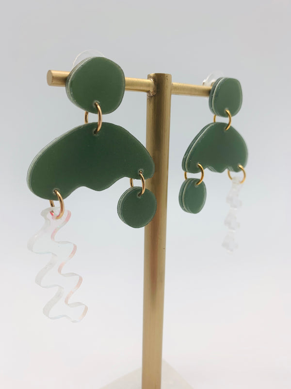 Moss solar squiggle storm earrings