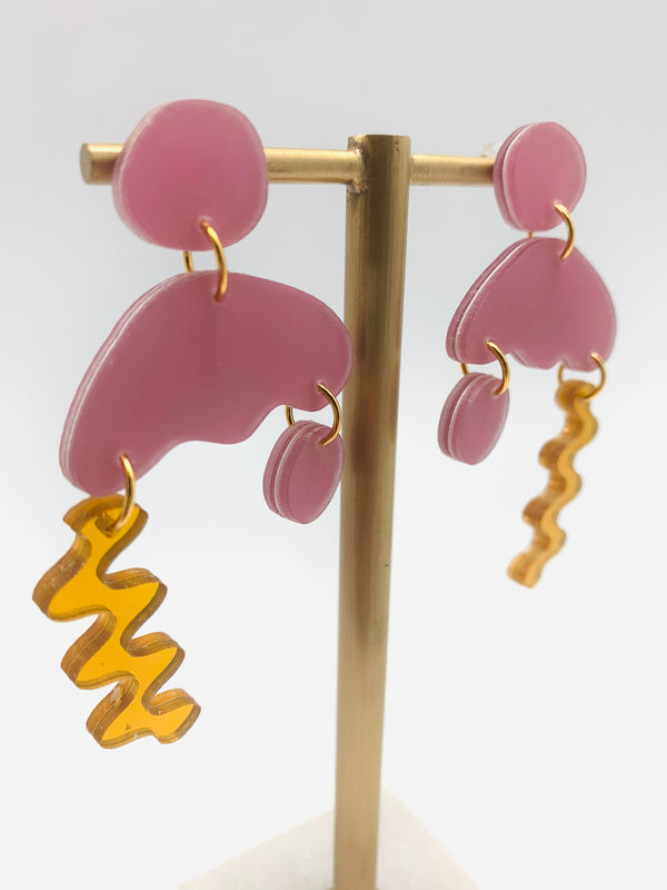 Lilac reflect gold squiggle storm earrings