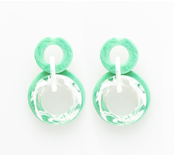 Mint Multi Circle Dangle Acetate Earring