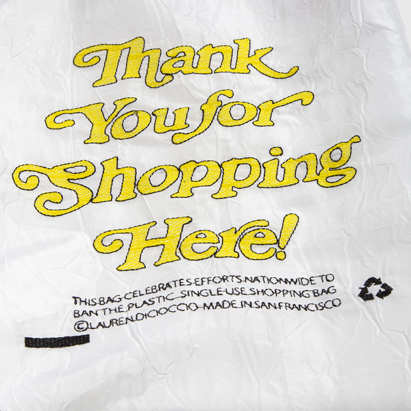 White Thank You for Shopping Here Reusable Tote
