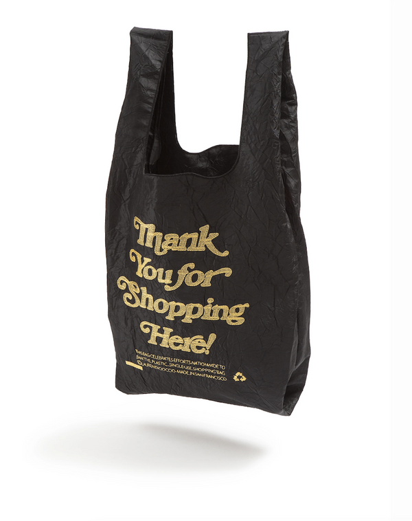 Black Thank You For Shopping Here Reusable Tote