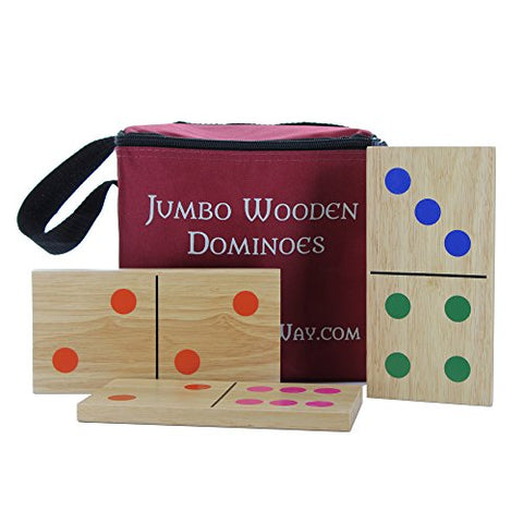 Knight's Way Jumbo Wooden Dominos, Colored Pips