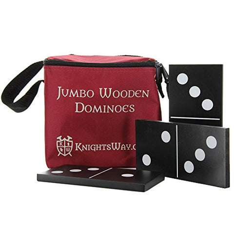 Knight's Way Jumbo Wooden Dominos, Black/White