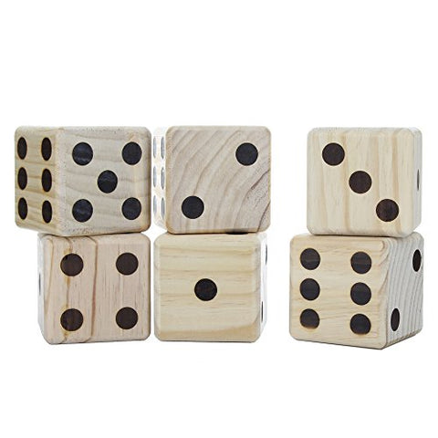 Knight's Way Jumbo solid wooden dice, Wood Burned Pips