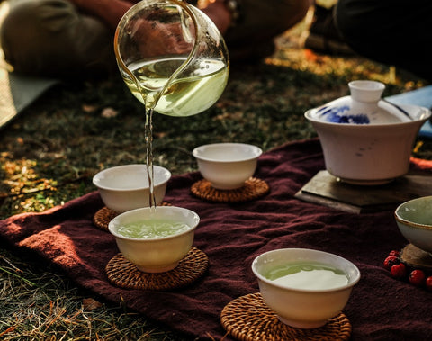 Drinking tea in the park with friends