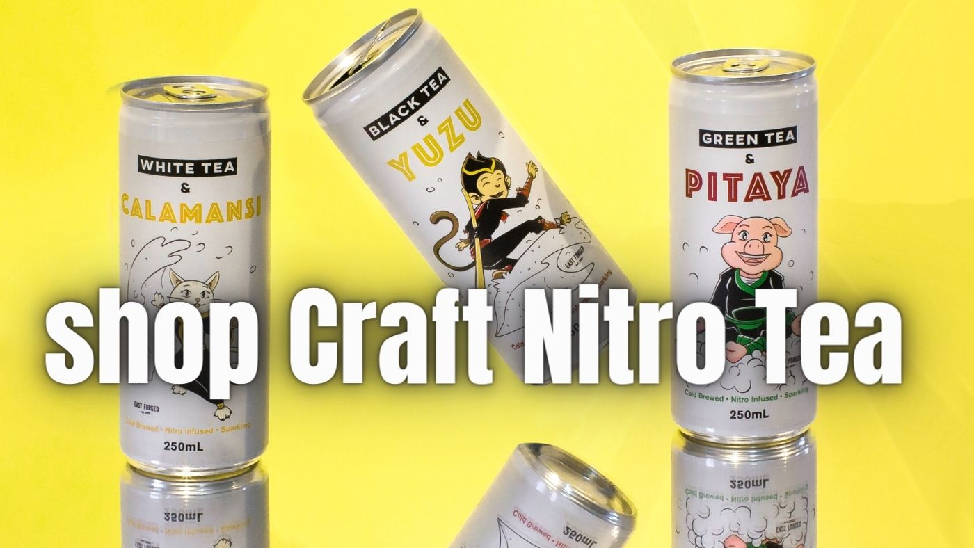 3 cans of East Forged nitro craft tea with a mirror image and yellow background