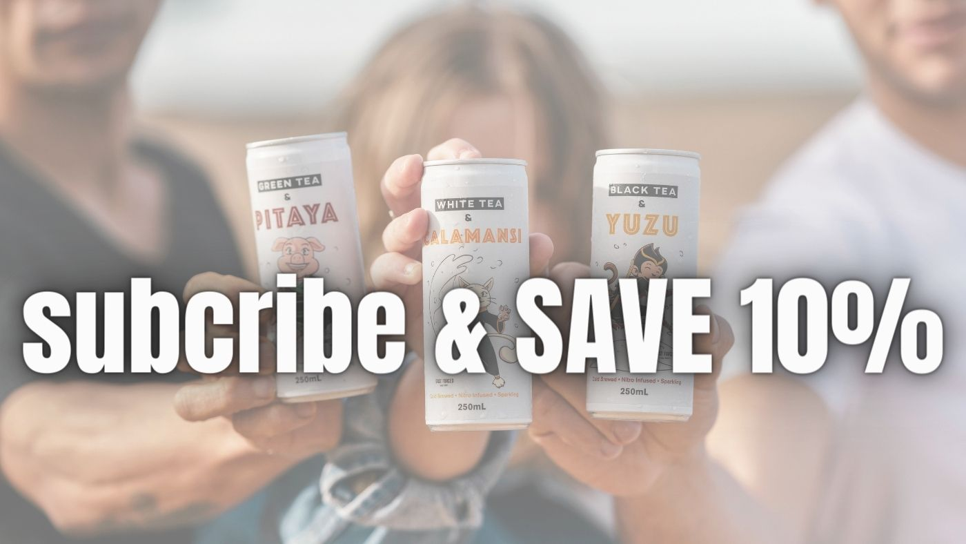 Subscribe and save 10% words with people holding cans of drink