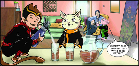 Monkey, cat, pig and a man drinking cold brew tea