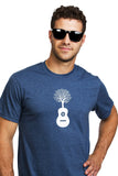 Guitar T- Shirt with a Tree Arbre Guitare Bleu color Blue Organic Made Local