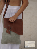 TERRA ORGANICA - Large Messenger Bag - made of Organic Jute and Recycled Leather - Ash