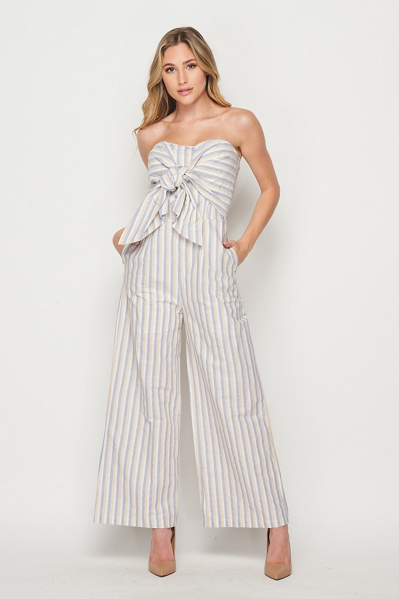 Jumpsuit strapless rayas