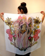 "Load image into Gallery viewer, ""3 Graces"" Chiffon Silk Scarf"