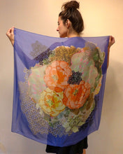 Load image into Gallery viewer, Blue Orchard Silk Chiffon Scarf