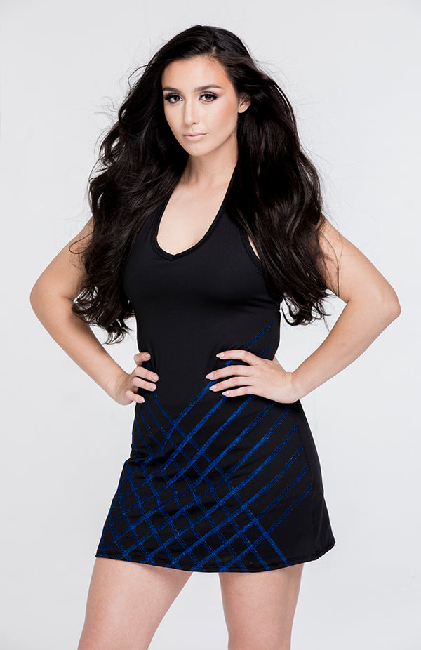 Stitch Dress Black with Metallic Blue Detail