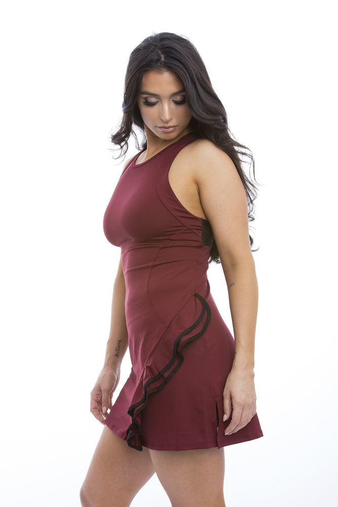 Burgundy Ruffle Dress