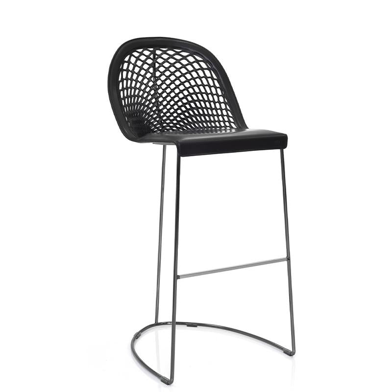 Guapa Bar Stool in Chrome/Black Hide
