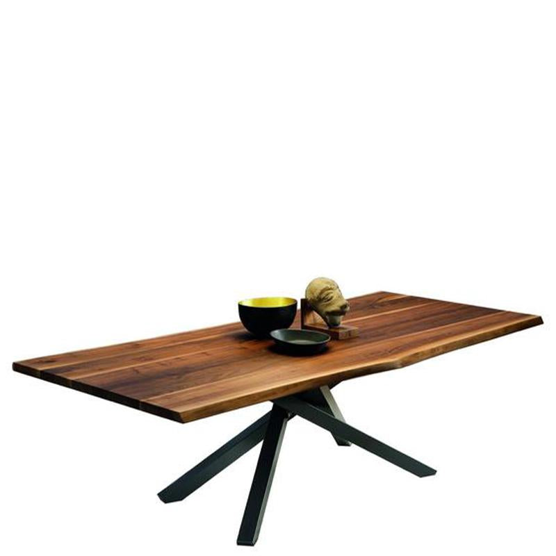 Pechino Dining Table in Graphite Base/Solid Walnut Top