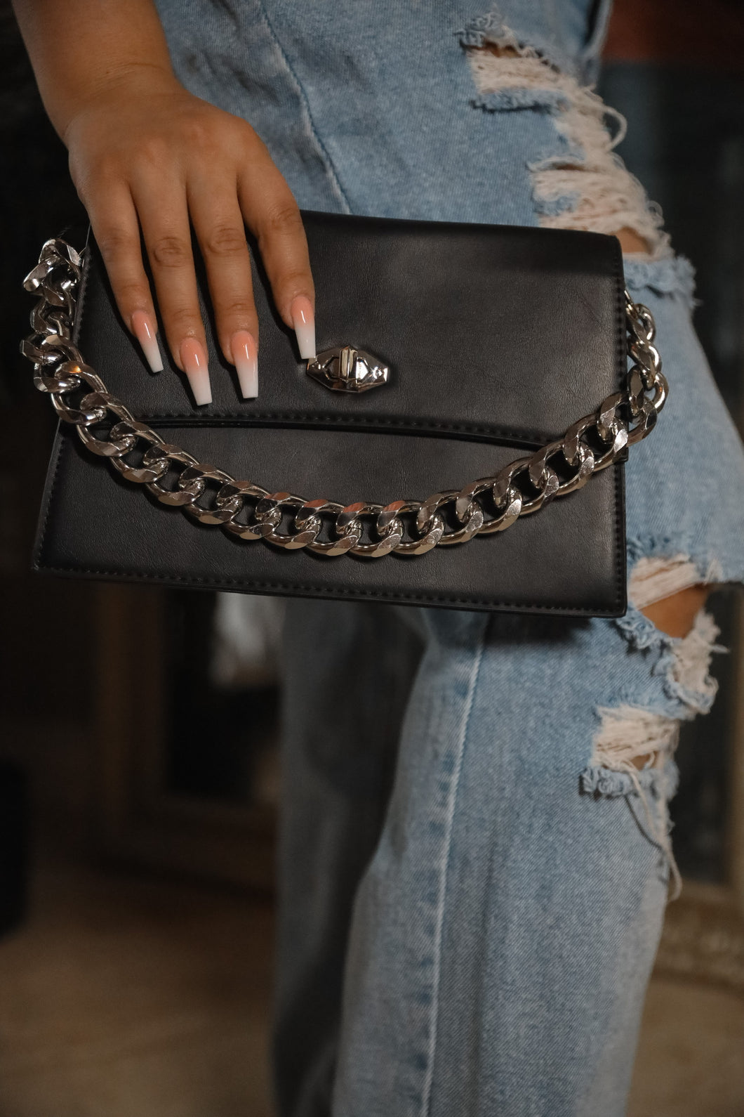Black chain purse