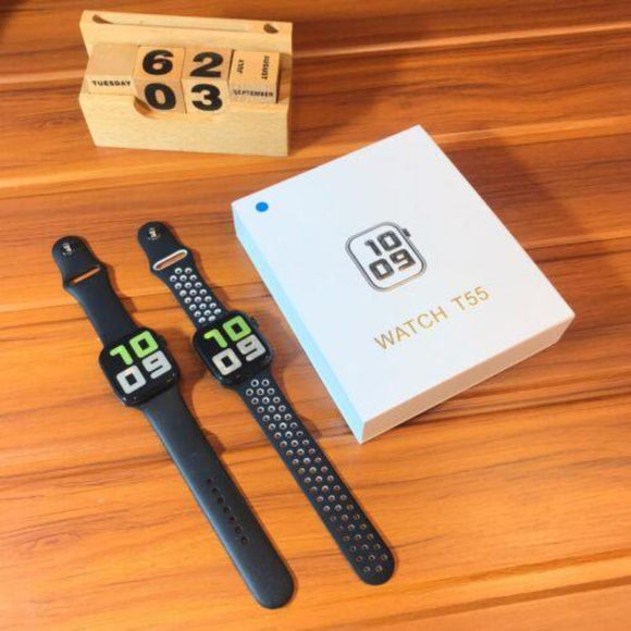 T55 Series 5 Dual Belts (Pack of 2 Strap/Belts) Smart Watch For  Android & iOS - Black