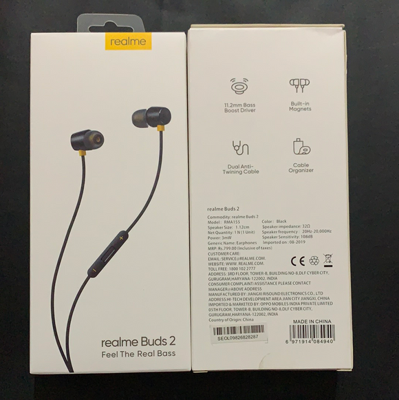 Original Realme Buds 2 with Mic for Android Smartphones (Black)