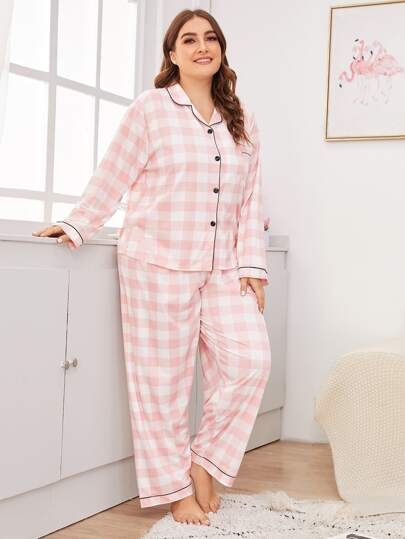 Plus Pink Gingham Pajamas