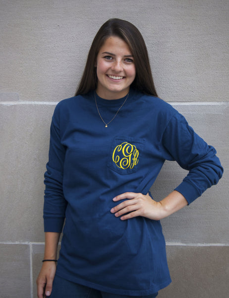 Long Sleeve Monogram Pocket Tee