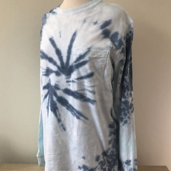Shades Of Blue Tie Dye Long Sleeve
