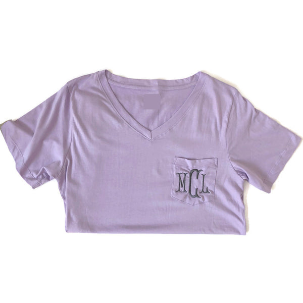 Lilac Monogram V Neck Pocket Shirt