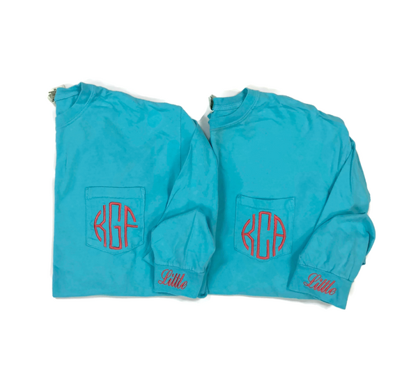 Long Sleeve Monogram Sorority Reveal Shirts With Family Name On The Cuff