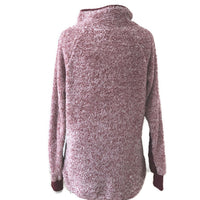 Burgundy Shearling Side Snap Sweatshirt / Final Sale
