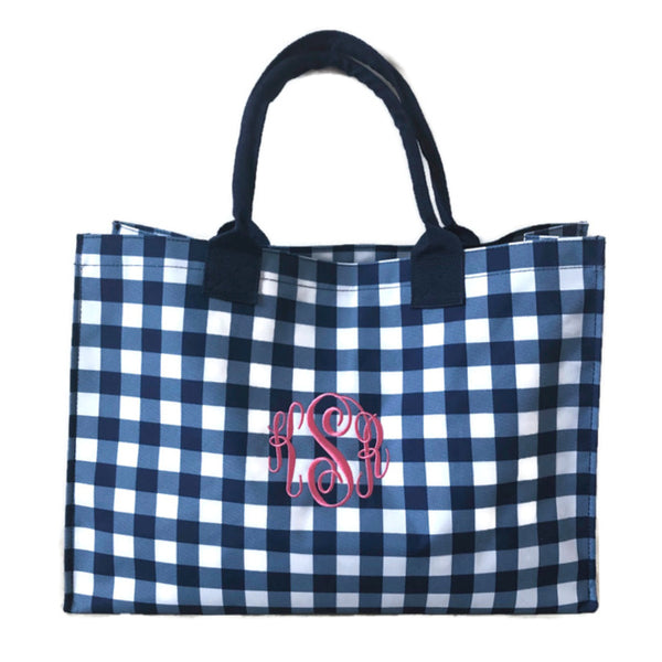 Monogram Gingham Tote Bag