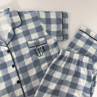 Blue Gingham Pajama Set