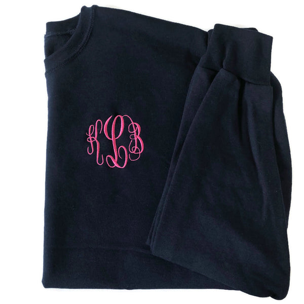 Navy Monogram Crewneck