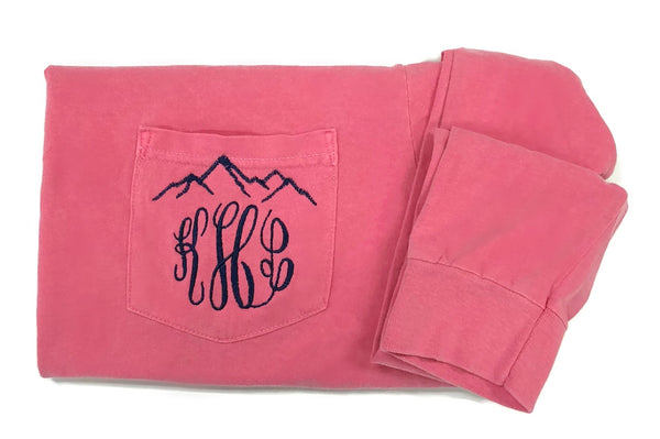 Long Sleeve Monogram Mountain Pocket Tee