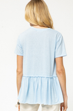 Monogram Blue Peplum Shirt