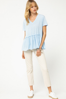 Blue Peplum Shirt