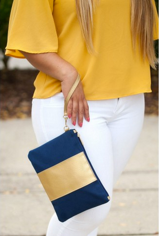 Navy & Gold Wristelet
