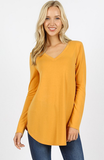 Long Sleeve WV V Neck Shirt - Gold / Final Sale
