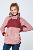 Burgundy Shearling Side Snap Sweatshirt
