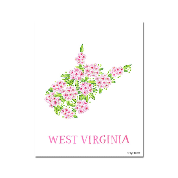 Preorder West Virginia Rhododendron Flower Illustration