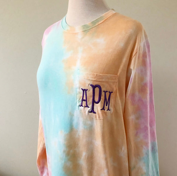 Long Sleeve Monogram Pocket Tee - Just Peachy Tie Dye