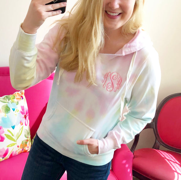 Monogram V Neck Hooded Sweatshirt - Pastel Unicorn